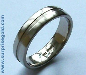 mans wedding ring with a straight groove
