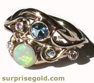 opal aquamarine and diamond ring with tendrils